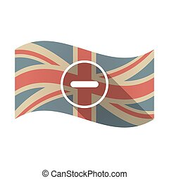 Isolated UK flag with a subtraction sign - Illustration of...