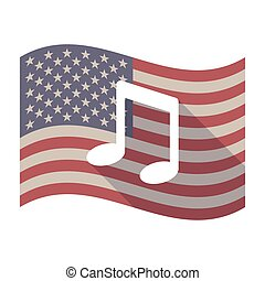 Long shadow USA flag with a note music