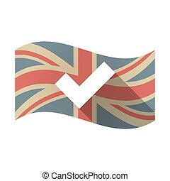 Isolated UK flag with a check mark - Illustration of an...