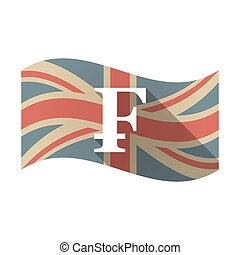 Isolated UK flag with a swiss franc sign - Illustration of...