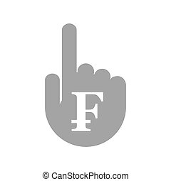 Isolated hand with a swiss franc sign - Illustration of an...