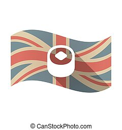 Isolated UK flag with a piece of sushi - Illustration of an...