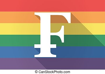 Long shadow lgbt flag with a swiss franc sign - Illustration...