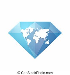 Isolated diamond with a world map
