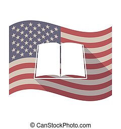Long shadow USA flag with a book