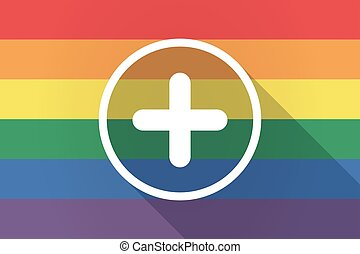 Long shadow lgbt flag with a sum sign - Illustration of a...
