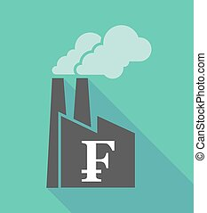 Factory icon with a swiss franc sign - Illustration of a...