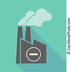 Factory icon with a subtraction sign - Illustration of a...