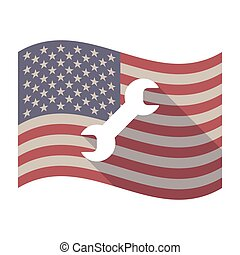 Long shadow USA flag with a wrench - Illustration of an...