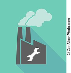 Factory icon with a wrench - Illustration of a long shadow...