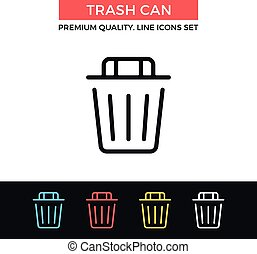 Vector trash can icon. Thin line icon