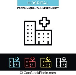 Vector hospital icon. Thin line icon - Vector hospital icons...