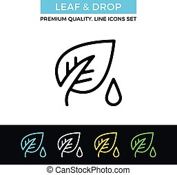 Vector leaf and drop icon. Thin line icon - Vector leaf and...