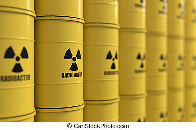 Toxic waste - 3D rendering of yellows barrels containing...