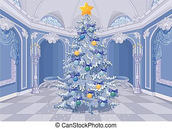 Decorated Christmas Tree - Christmas tree with a shining...