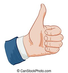 hand sign like - Hand sign thumbs up hand drawing on a white...