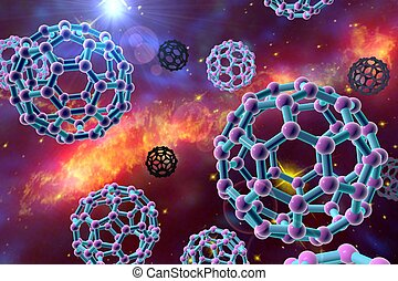 Nanoparticles on colorful background - 3D illustration of...