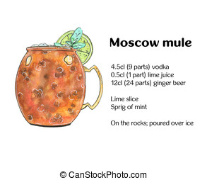 hand drawn watercolor cocktail Moscow mule Vodka buck on...