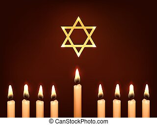 hanukkah candles star - Nine Candles and Star of David on a...