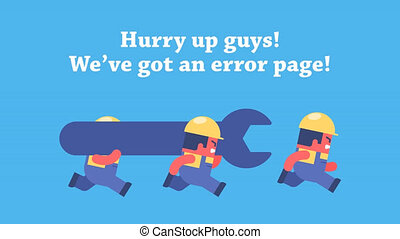 Error page animation. - Funny cartoon workers running and...
