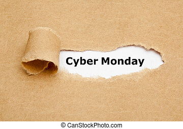 Cyber Monday Torn Paper Concept - Text Cyber Monday...