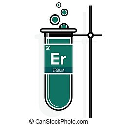 Erbium symbol on label in a green test tube with holder....