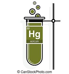 Mercury symbol on label in a green test tube with holder....