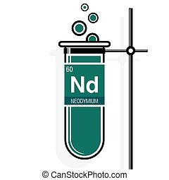 Neodymium symbol on label in a green test tube with holder....