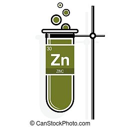 Zinc symbol on label in a green test tube with holder....