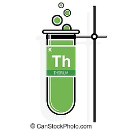 Thorium symbol on label in a green test tube with holder....