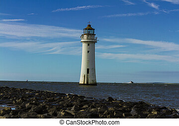 Gorgeous landscape Perch Rock Lighthouse, New Brighton, Merseyside before  sunset