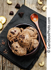 vegan chocolate banana cashew ice cream. toning. selective...