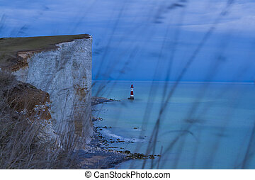beachyhead lighthouse in eastbourne night landscape