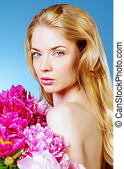 belle with flowers - Beautiful young woman with natural...