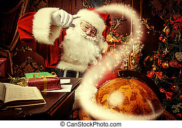 around the world - Santa Claus at home reading the post and...