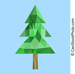 Polygon fur-tree image - Polygon mesh vector image of single...