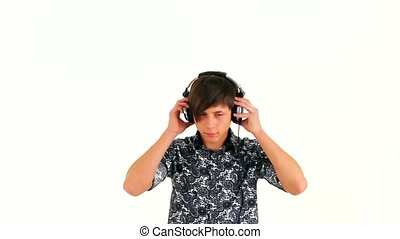 Modern Guy Dancing With Music In Headphones