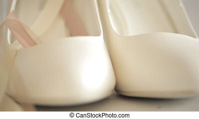 New pearl classical female shoes, close up, recording for a...