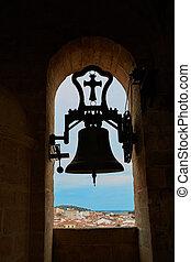Concatedral de Santamaria Belfry bell Caceres in Extremadura...