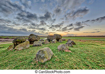 Hunnic megalithic Dolmen tomb structure near Assen, Drenthe