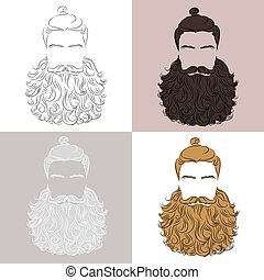 man beard curle - set of vector man luxuriant beard,...