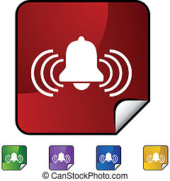 Alert Bell web button isolated on a background