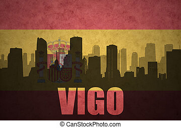 abstract silhouette of the city with text Vigo at the...