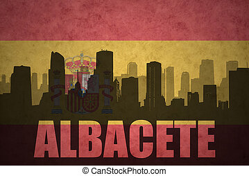 abstract silhouette of the city with text Albacete at the...