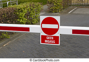 no entry sign - red with white no entry sign in dutch...