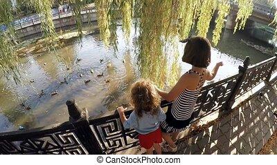Children feeding ducks in a town park .