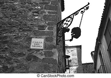 Caceres Calle del mono Monkey street Spain - Caceres Calle...