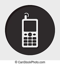 information icon - old mobile phone with antenna