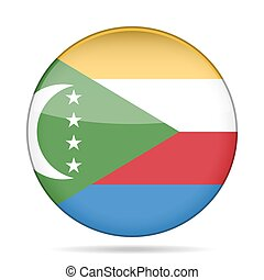 Flag of Comoros. Shiny round button. - National flag of...