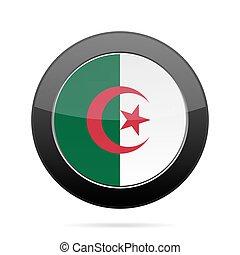 Flag of Algeria. Shiny black round button.